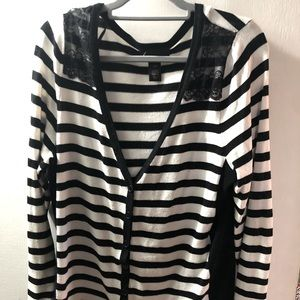 Black and white striped sweater with lace